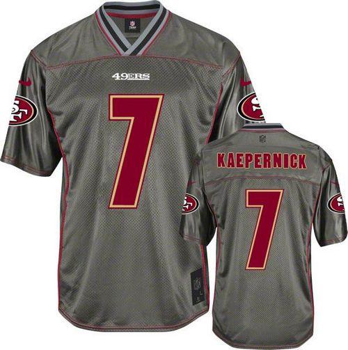 Nike 49ers #7 Colin Kaepernick Grey Men's Stitched NFL Elite Vapor Jersey