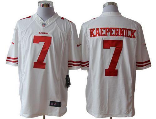 check out 568a1 e89de Nike 49ers #7 Colin Kaepernick White Men's Embroidered NFL ...